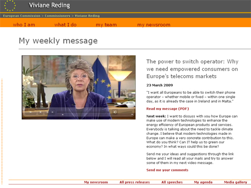 El mensaje semanal de Viviane Reding