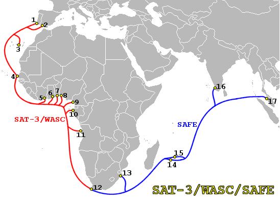 De momento no hay cable submarino que cubra la costa este de África. Foto cortesía de Wikipedia.